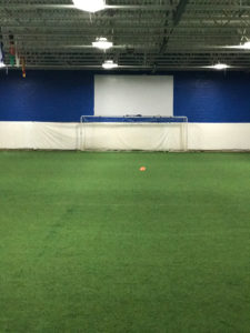 Indoor turf with screen in background